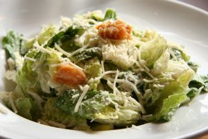 Caesar Salad with anchovies in the dressing